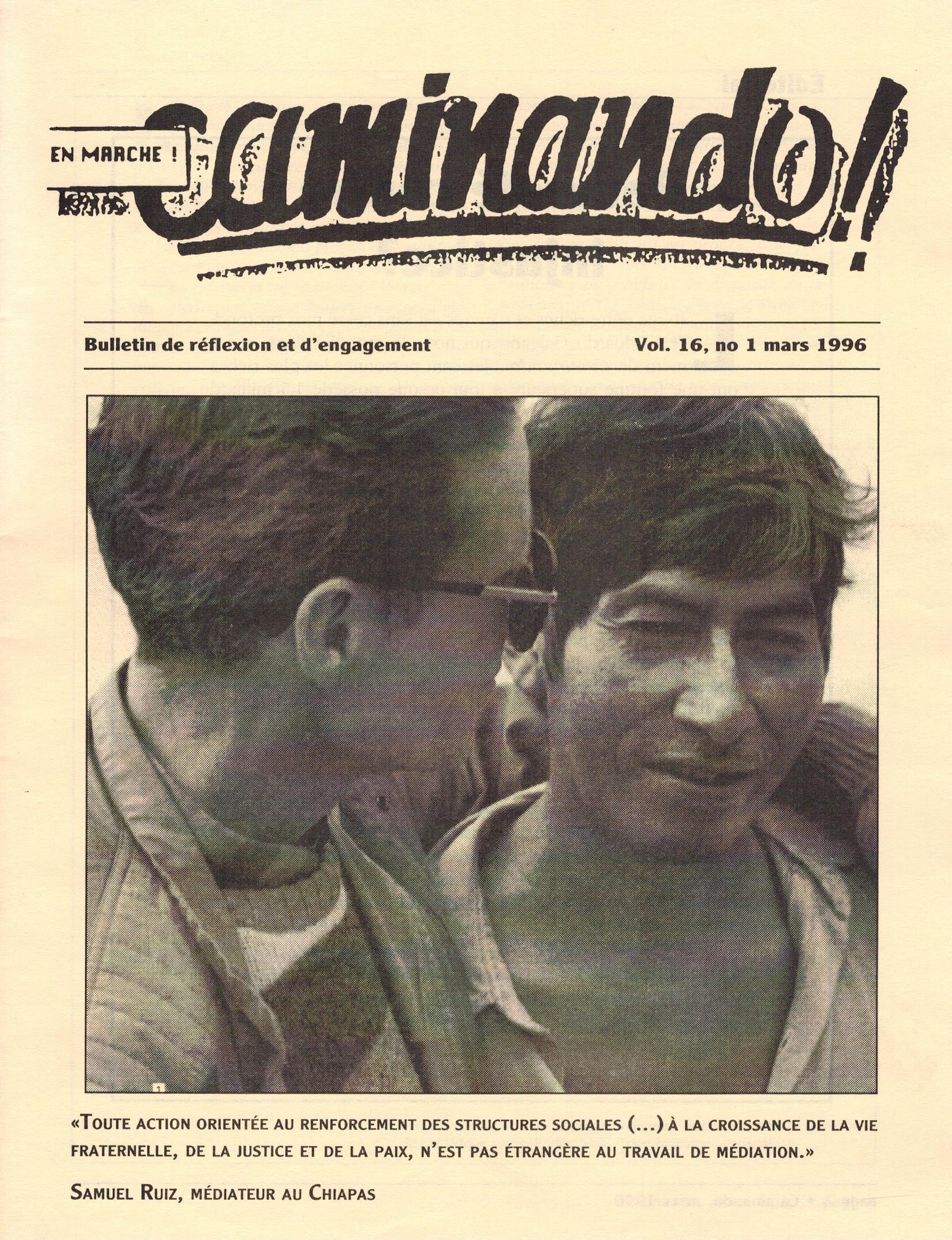 Caminando-vol16-No1-mars1996_couverture