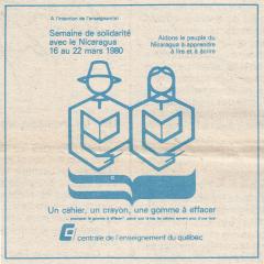 Illustration CEQ. Semaine de la solidarité du 16 au 22 mars 1980
