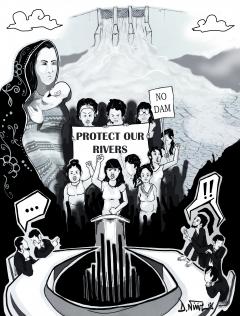 Illustration Les voix de la rivière, publiée dans l'édition 2015 de Caminando / Illustration de Denis Ninine