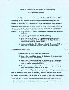 Bilan de l'occupation des bureaux de l'immigration Novembre 1973 / Courtoisie de Suzanne Chartrand – Comité Québec-Chili
