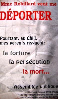 1999 Assemblée publique contre la déportation des chiliens 1999 / Courtoisie du Centre de recherche en imagerie populaire CRIP