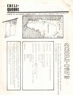 Bulletin Chili-Québec Informations Nº 1 Octobre 1973 / Courtoisie de Suzanne Chartrand – Comité Québec-Chili