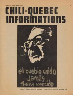 Bulletin Chili-Québec Informations Nº 3 Janvier 1974 / Courtoisie de Suzanne Chartrand – Comité Québec-Chili
