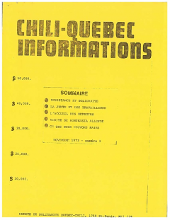 Bulletin Chili-Québec Informations Nº1 Novembre 1973
