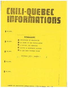 Bulletin Chili-Québec Informations Nº1 Novembre 1973 / Courtoisie de Suzanne Chartrand – Comité Québec-Chili