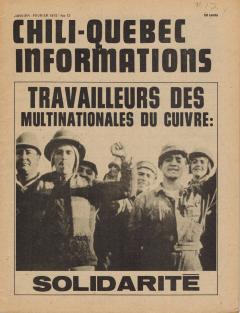 Bulletin Chili-Québec Informations Nº12 Janvier-Février 1975 / Courtoisie de Suzanne Chartrand – Comité Québec-Chili