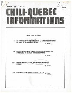 Bulletin Chili-Québec Informations Nº17 Février 1976