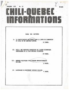 Bulletin Chili-Québec Informations Nº17 Février 1976 / Courtoisie de Suzanne Chartrand – Comité Québec-Chili