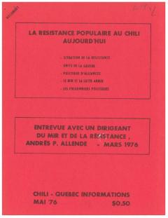 Bulletin Chili-Québec Informations Nº19 Mai 1976