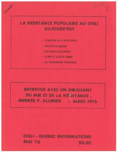 Bulletin Chili-Québec Informations Nº19 Mai 1976 / Courtoisie de Suzanne Chartrand – Comité Québec-Chili