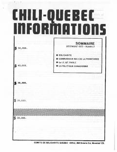 Bulletin Chili-Québec Informations Nº2 Décembre 1973 / Courtoisie de Suzanne Chartrand – Comité Québec-Chili