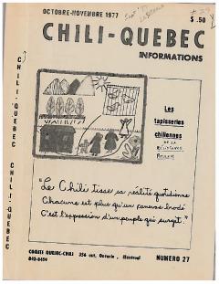 Bulletin Chili-Québec Informations Nº27 Octobre-Novembre 1977 / Courtoisie de Suzanne Chartrand – Comité Québec-Chili