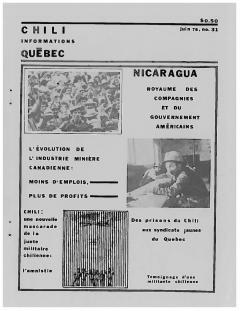 Bulletin Chili-Québec Informations Nº31 Juin 1978