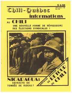 Bulletin Chili-Québec Informations Nº 34 Décembre 1978 / Courtoisie de Suzanne Chartrand – Comité Québec-Chili