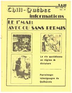 Bulletin Chili-Québec Informations Nº37 Mai – Juin 1979 / Courtoisie de Suzanne Chartrand – Comité Québec-Chili