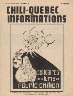 Bulletin Chili-Québec Informations Nº8 Juillet-Août 1974 / Courtoisie de Suzanne Chartrand – Comité Québec-Chili