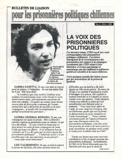 Bulletin de Liaison pour les prisonnières politiques chiliennes Mai 1989 / Courtoisie du Comité chilien pour les droits humains