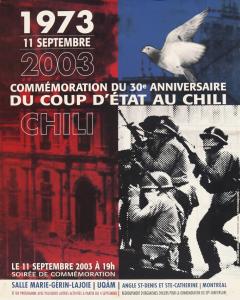 Commémoration du 30e anniversaire du coup d'État au Chili 2003 / Courtoisie du Comité chilien pour les droits humains