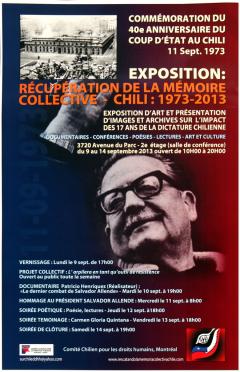 """Exposition """"Récupération de la mémoire collective"""" Chili 1973-2003/ Courtoisie du Comité chilien pour les droits humains"""