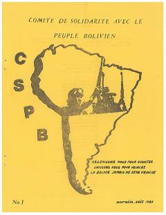 Comité de solidarité avec le peuple bolivien Nº 1 Août 1980 / Courtoisie de Suzanne Chartrand – Comité Québec – Chili