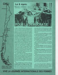 8 Mars: Journée internationale des femmes Chili / Courtoisie de Clotilde Bertrand