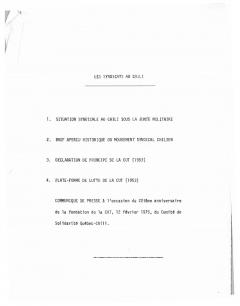 """Communiqué de presse """"Les Syndicats au Chili"""" Février 1975 / Courtoisie de Suzanne Chartrand – Comité Québec – Chili"""