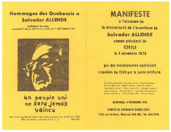 Manifeste à l'occasion du 3e anniversaire de l'investiture de Salvador Allende Novembre 1970/ Courtoisie de Suzanne Chartrand – Comité Québec-Chili