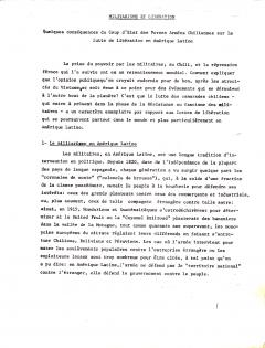 Militarisme et libération / Courtoisie de Suzanne Chartrand – Comité Québec – Chili