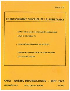 Bulletin Québec – Chili Informations Septembre 1976 / Courtoisie de Suzanne Chartrand – Comité Québec – Chili