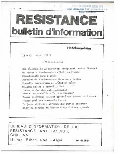 Bulletin d'information Résistance N° 9 Mars / Courtoisie de Suzanne Chartrand – Comité Québec-Chili