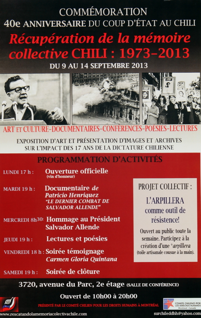 Programmation Exposition Récupération de la mémoire collective Chili 1973-2003
