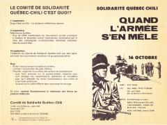 Solidarité Québec – Chili 16 Octobre 1973/ Courtoisie de Suzanne Chartrand – Comité Québec-Chili
