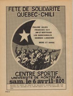 Fête de solidarité Québec – Chili 6 Avril 1974 / Courtoisie de Suzanne Chartrand – Comité Québec-Chili