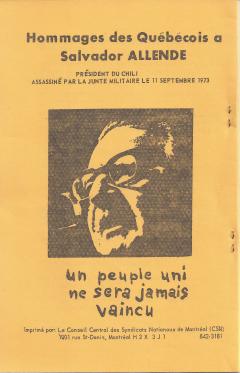 Hommage des québecois à Salvador Allende / Courtoisie de Suzanne Chartrand – Comité Québec-Chili