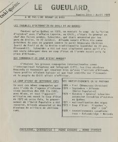 Le Gueulard Avril 1978 / Courtoisie de Suzanne Chartrand – Comité Québec-Chili