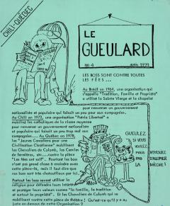 Le Gueulard Nº 4 Avril 1979 / Courtoisie de Suzanne Chartrand – Comité Québec-Chili