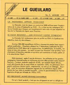 Le Gueulard Nº 3 Janvier 1979 / Courtoisie de Suzanne Chartrand – Comité Québec-Chili