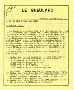 Le Gueulard Nº 1 Juin 1978 / Courtoisie de Suzanne Chartrand – Comité Québec-Chili