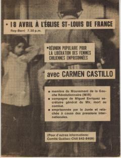 Réunion populaire pour la libération des femmes chiliennes emprisonnées avec Carmen Castillo 18 Avril 1975 / Courtoisie de Suzanne Chartrand – Comité Québec-Chili