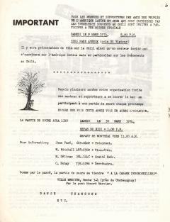 Projection film sur le Chili 9 Mars 1974 / Courtoisie de Suzanne Chartrand – Comité Québec-Chili