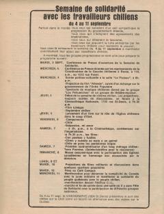 Semaine de solidarité avec les travailleurs chiliens Septembre 1974 / Courtoisie de Suzanne Chartrand – Comité Québec-Chili