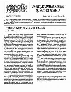 Bulletin d'information PAQG Vol.3 Nº6 Octobre 1996 / Courtoisie du Projet Accompagnement Québec-Guatemala