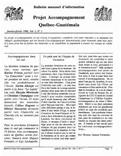 Bulletin d'information PAQG Vol.3 Nº1 Janvier – Février 1996 / Courtoisie du Projet Accompagnement Québec-Guatemala