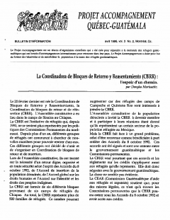Bulletin d'information PAQG Vol.3 Nº2 Avril 1996 / Courtoisie du Projet Accompagnement Québec-Guatemala