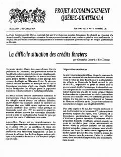 Bulletin d'information PAQG  Vol.3 Nº 5 Juin 1996 / Courtoisie du Projet Accompagnement Québec-Guatemala