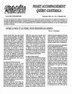 Bulletin d'information PAQG Vol.3 Nº7 Novembre 1996 / Courtoisie du Projet Accompagnement Québec-Guatemala