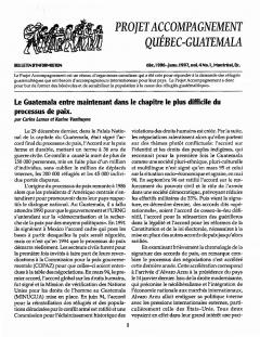 Bulletin d'information PAQG Vol.4 Nº1 Décembre 1996 – Janvier 1997 / Courtoisie du Projet Accompagnement Québec-Guatemala