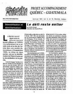 Bulletin d'information PAQG Vol.4 Nº10 Avril – Mai 1997 / Courtoisie du Projet Accompagnement Québec-Guatemala
