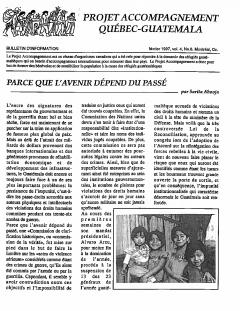 Bulletin Vol. 4 N°8 Février 1997 / Courtoisie du Projet Accompagnement Québec – Guatemala