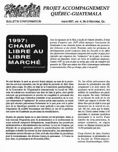 Bulletin d'information PAQG  Vol.4 Nº9 Mars 1997 / Courtoisie du Projet Accompagnement Québec-Guatemala